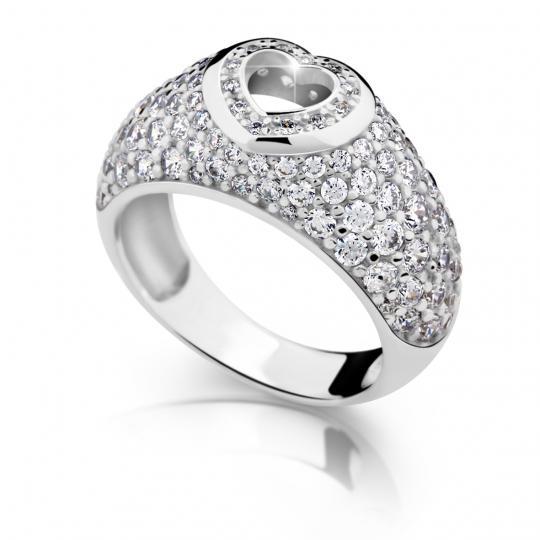 Zlatý prsteň DF 2407 z bieleho zlata, s briliantom