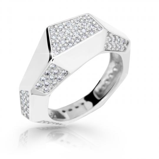 Zlatý prsten DF 2507 z bílého zlata, s briliantem