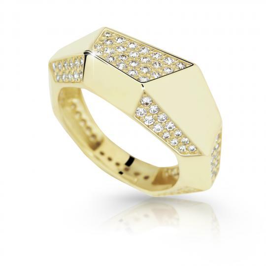 Zlatý prsteň DF 2507 zo žltého zlata, s briliantom