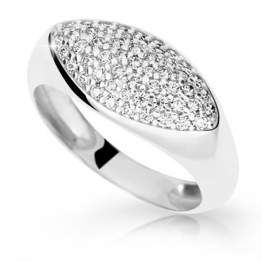 Zlatý prsten DF 2516 z bílého zlata, s briliantem