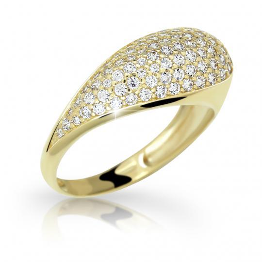 Zlatý prsten DF 2518 ze žlutého zlata, s briliantem