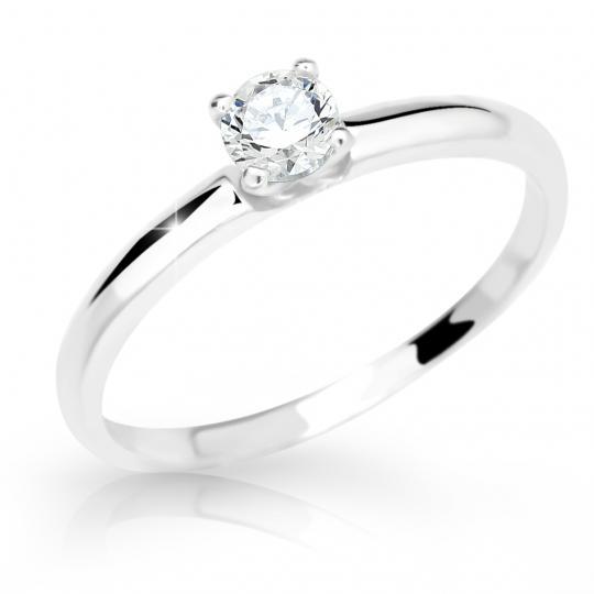Zlatý prsten DF 2521 z bílého zlata, s briliantem