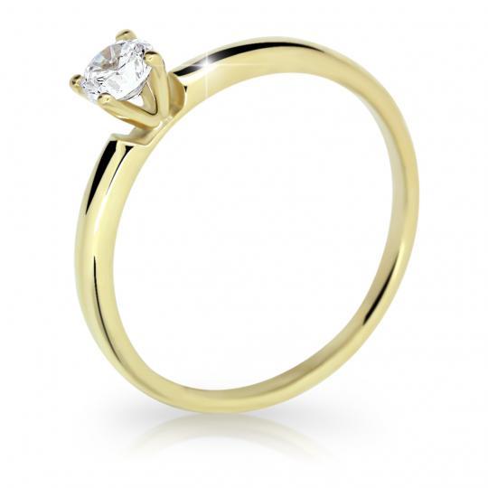 Zlatý prsten DF 2521 ze žlutého zlata, s briliantem