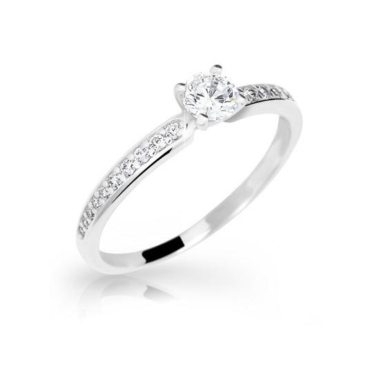 Zlatý prsten DF 2523 z bílého zlata, s briliantem