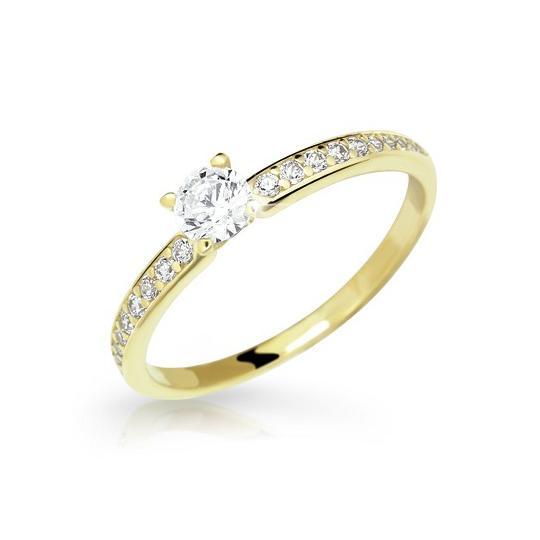 Zlatý prsteň DF 2523 zo žltého zlata, s briliantom
