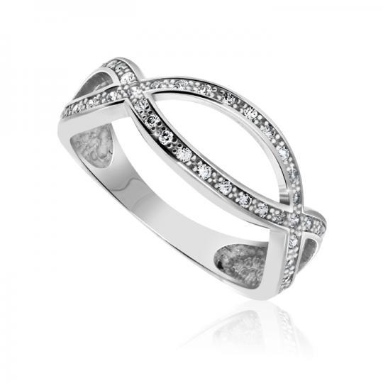 Zlatý prsten DF 2532 z bílého zlata, s briliantem