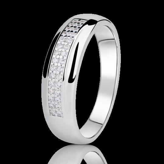 Zlatý prsten DF 2542 z bílého zlata, s briliantem