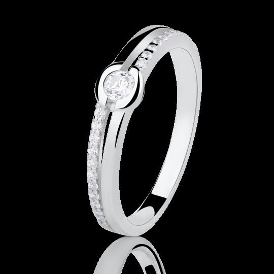 Zlatý prsteň DF 2543 z bieleho zlata, s briliantom