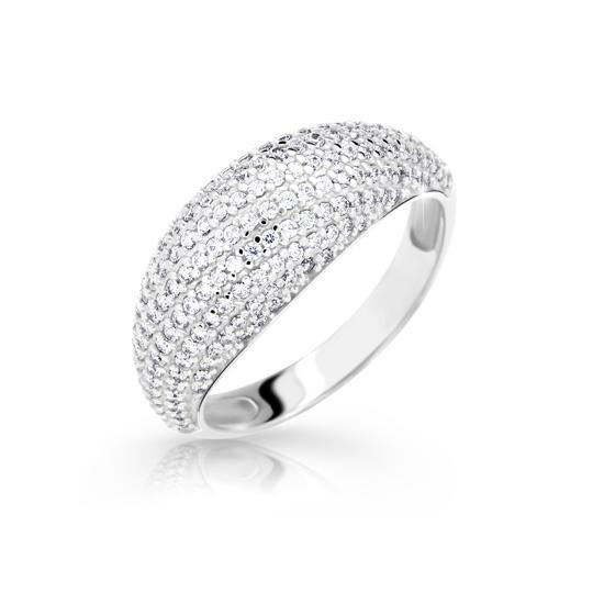 Zlatý prsteň DF 2546 z bieleho zlata, s briliantom