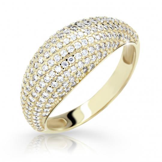 Zlatý prsten DF 2546 ze žlutého zlata, s briliantem