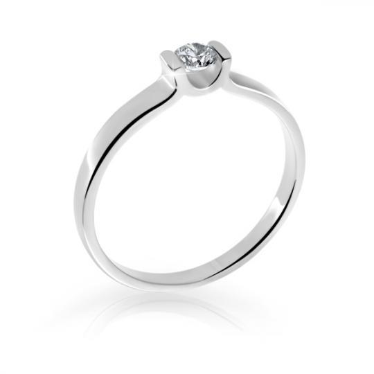 Zlatý prsten DF 2613 z bílého zlata, s briliantem