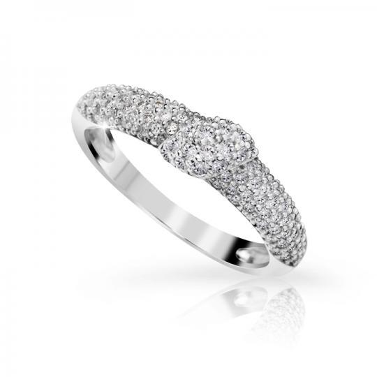 Zlatý prsteň DF 3200 z bieleho zlata, s briliantom