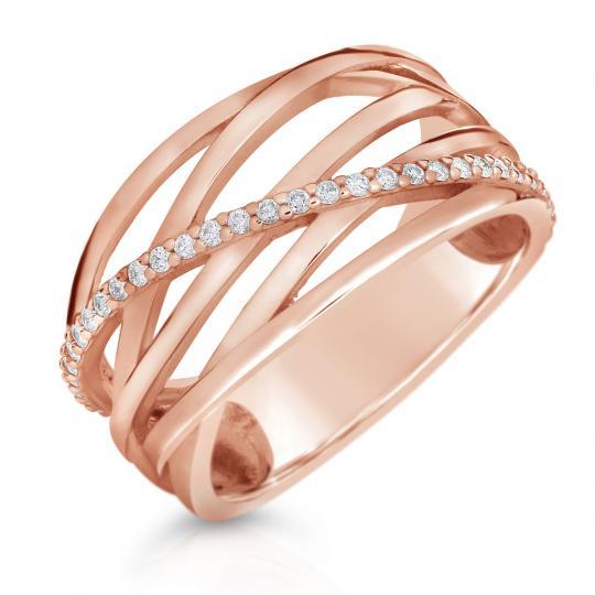 Zlatý prsteň DF 3797 z ružového zlata, s briliantom