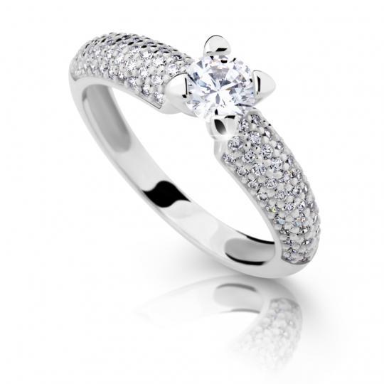 Zlatý prsteň DF2353 z bieleho zlata, s diamantom