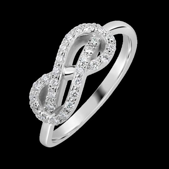Zlatý prsten nekonečno DF 3094 z bílého zlata, s briliantem