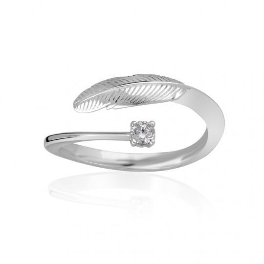 Zlatý prsten pírko DF 3836 z bílého zlata, s briliantem