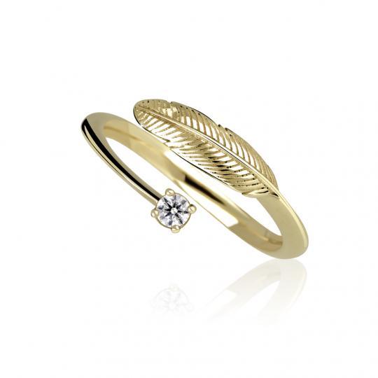 Zlatý prsten pírko DF 3836 ze žlutého zlata, s briliantem