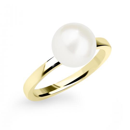 Zlatý Prsten S Perlou DF 2658 ze žlutého zlata, sladkovodní perla