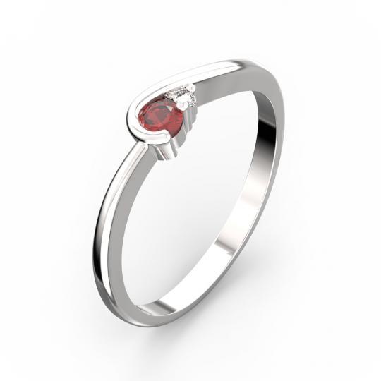 Zlatý prsteň s rubínom DF 2953 z bieleho zlata, s diamantmi