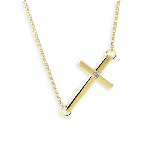 Zlatý řetízek s křížkem DF 3401, žluté zlato, s řetízkem a briliantem