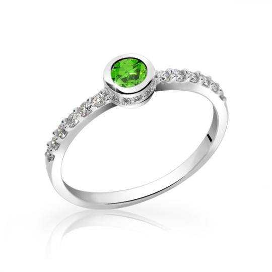 Zlatý smaragdový prsteň DF 2803 z bieleho zlata, s diamantmi
