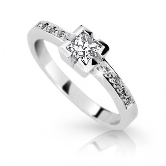Zlatý zásnubní prsten DF 1645, bílé zlato, s diamantem