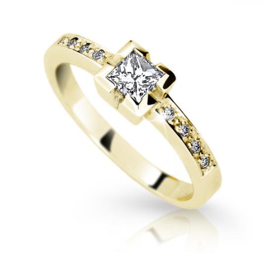 Zlatý zásnubní prsten DF 1645, žluté zlato, s diamantem