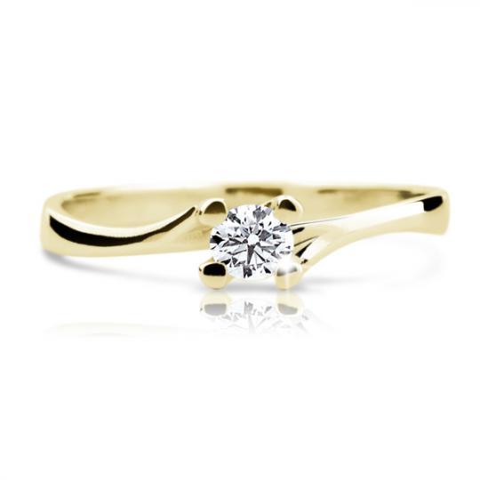 Zlatý zásnubní prsten DF 1855, žluté zlato, s briliantem