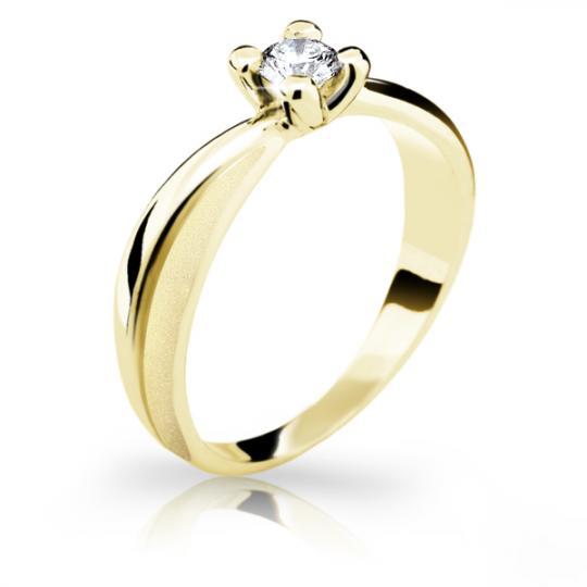 Zlatý zásnubní prsten DF 1861, žluté zlato, s briliantem