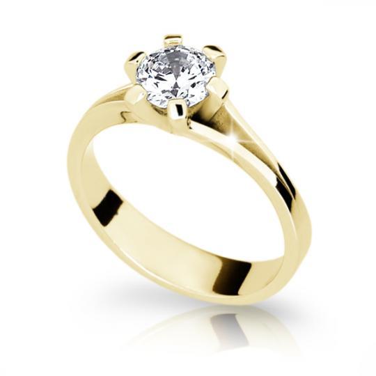 Zlatý zásnubní prsten DF 1878, žluté zlato, s diamantem