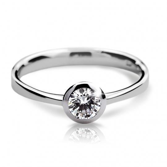 Zlatý zásnubní prsten DF 1883, bílé zlato, s diamantem
