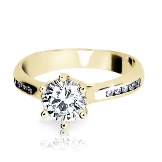 Zlatý zásnubní prsten DF 1886, žluté zlato, s diamantem