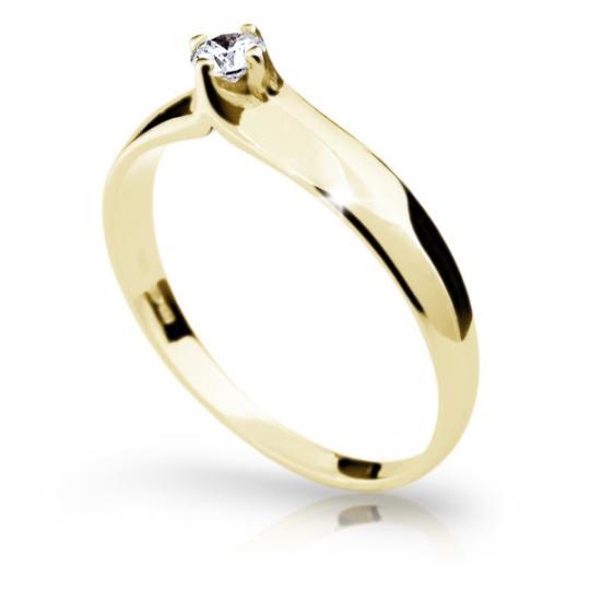 Zlatý zásnubní prsten DF 1891, žluté zlato, s briliantem