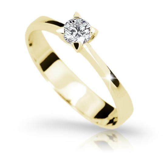 Zlatý zásnubní prsten DF 1895, žluté zlato, s diamantem
