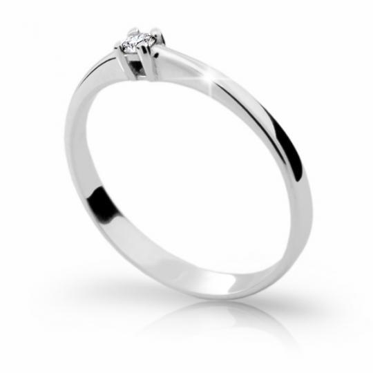 Zlatý zásnubní prsten DF 1904, bílé zlato, s briliantem