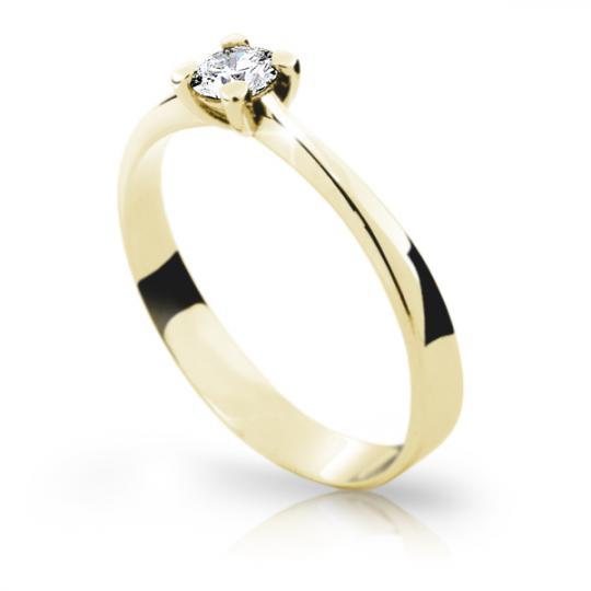 Zlatý zásnubní prsten DF 1905, žluté zlato, s briliantem