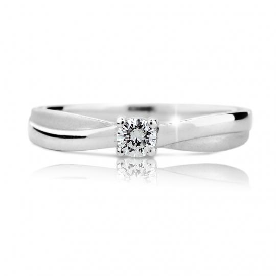 Zlatý zásnubní prsten DF 1906, bílé zlato, s briliantem