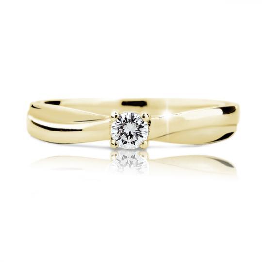 Zlatý zásnubní prsten DF 1906, žluté zlato, s briliantem