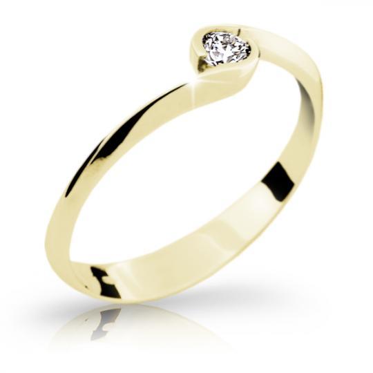 Zlatý zásnubní prsten DF 1914, žluté zlato, s briliantem