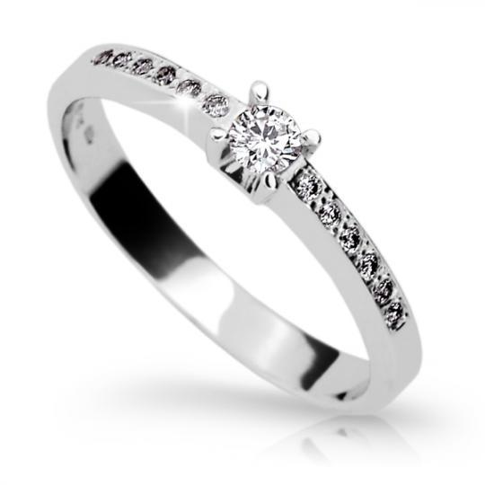 Zlatý zásnubní prsten DF 1917, bílé zlato, s briliantem