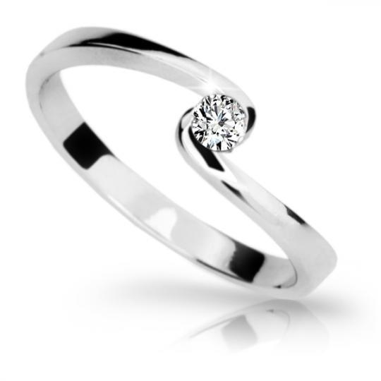 Zlatý zásnubní prsten DF 1934, bílé zlato, s briliantem