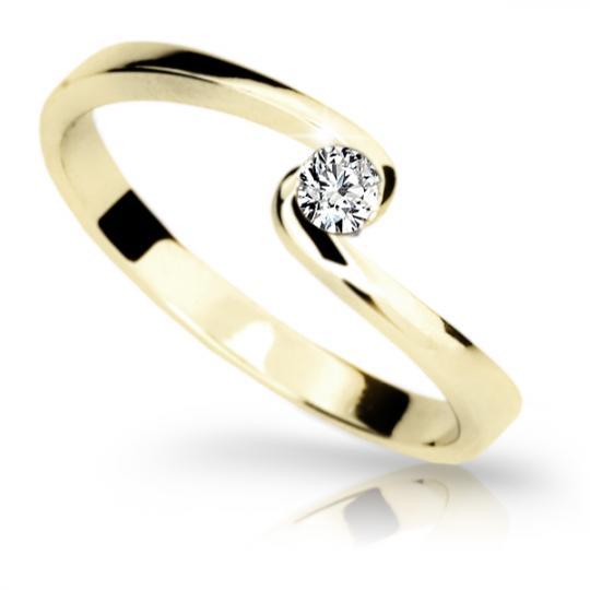 Zlatý zásnubní prsten DF 1934, žluté zlato, s briliantem