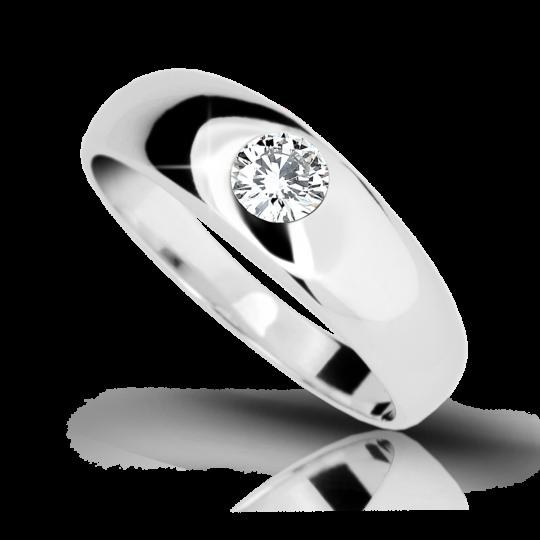 Zlatý zásnubní prsten DF 1939, bílé zlato, s briliantem