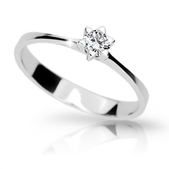 Zlatý zásnubní prsten DF 1953, bílé zlato, s briliantem