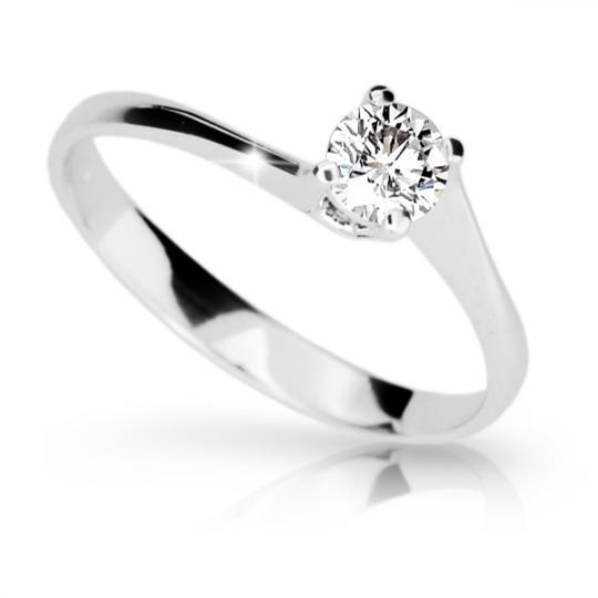 Zlatý zásnubní prsten DF 1957, bílé zlato, s briliantem