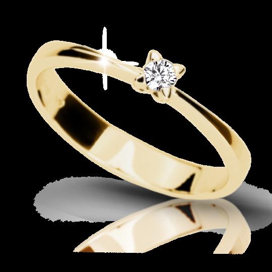 Zlatý zásnubní prsten DF 1958, žluté zlato, s briliantem