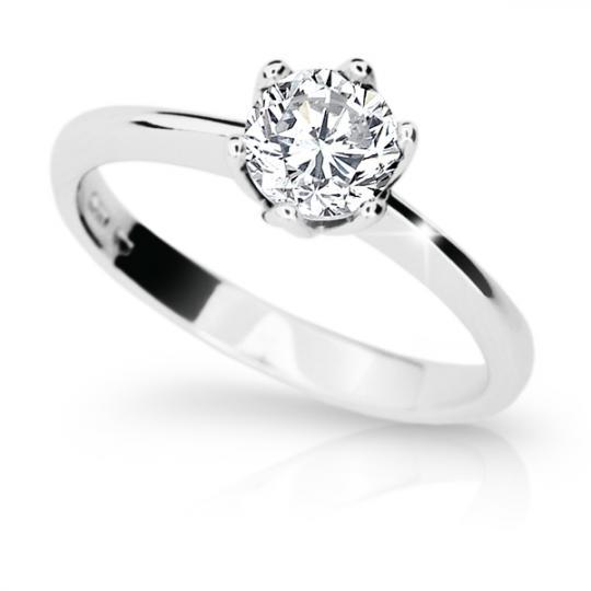 Zlatý zásnubní prsten DF 1959, bílé zlato, s diamantem