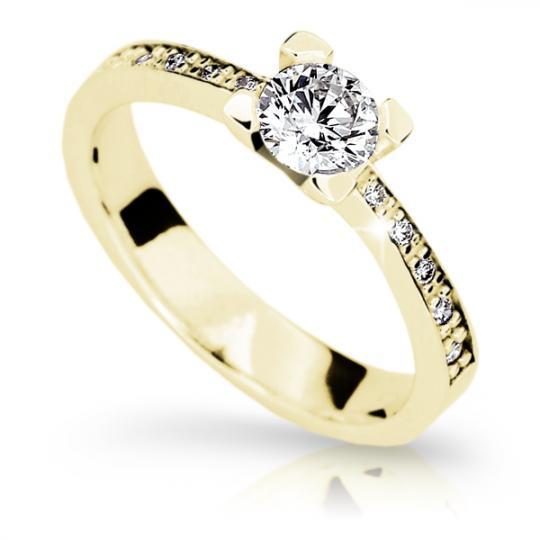 Zlatý zásnubní prsten DF 1961, žluté zlato, s diamantem