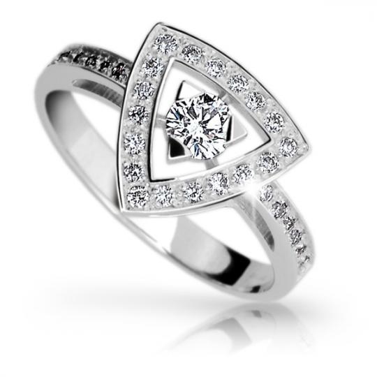 Zlatý zásnubní prsten DF 1970, bílé zlato, s briliantem