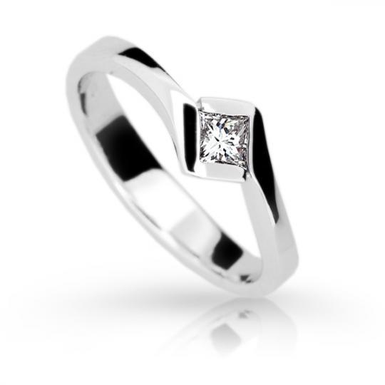 Zlatý zásnubní prsten DF 1977, bílé zlato, s diamantem